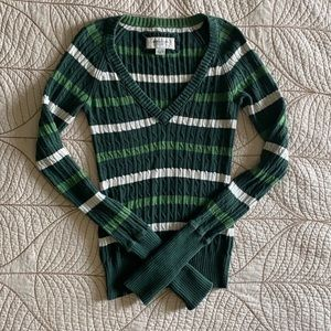 Green and white striped sweater V-neck